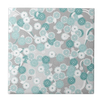 Pretty Abstract Floral Pattern in Teal and Grey Ceramic Tile