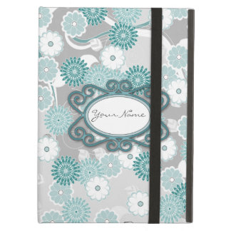 Pretty Abstract Floral Pattern in Teal and Grey iPad Air Cases
