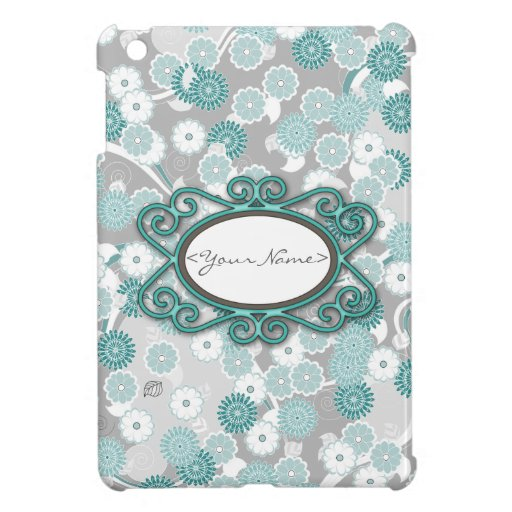 Pretty Abstract Floral Pattern in Teal and Grey iPad Mini Cases