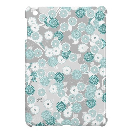 Pretty Abstract Floral Pattern in Teal and Grey iPad Mini Cover
