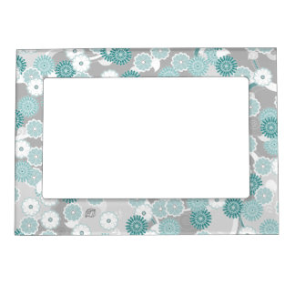 Pretty Abstract Floral Pattern in Teal and Grey Magnetic Photo Frame