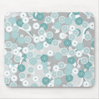 Pretty Abstract Floral Pattern in Teal and Grey Mouse Pad