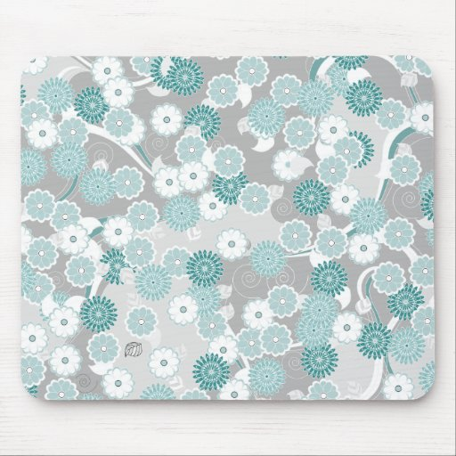 Pretty Abstract Floral Pattern in Teal and Grey Mousepad