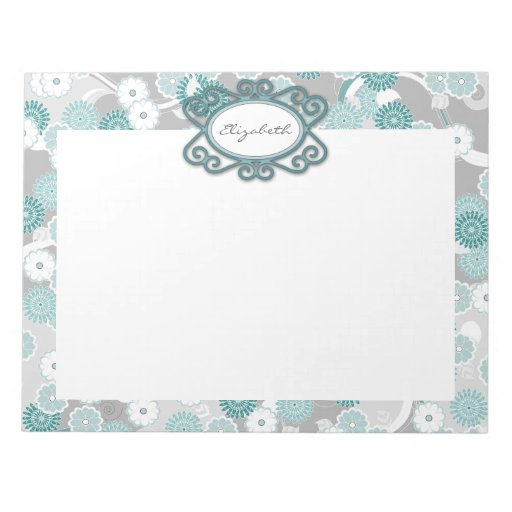 Pretty Abstract Floral Pattern in Teal and Grey Notepad