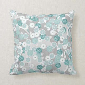 Pretty Abstract Floral Pattern in Teal and Grey Pillow