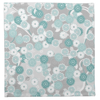 Pretty Abstract Floral Pattern in Teal and Grey Printed Napkins