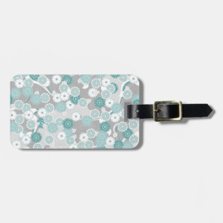 Pretty Abstract Floral Pattern in Teal and Grey Tag For Luggage