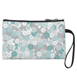 Pretty Abstract Floral Pattern in Teal and Grey Wristlets