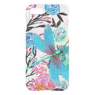 Pretty Abstract Floral with Blue Dragonfly iPhone 7 Case