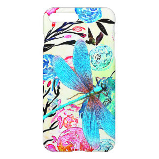 Pretty Abstract Floral with Blue Dragonfly iPhone 8 Plus/7 Plus Case