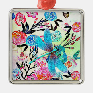 Pretty Abstract Floral with Blue Dragonfly Metal Ornament