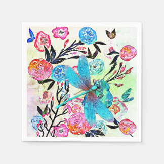 Pretty Abstract Floral with Blue Dragonfly Napkin