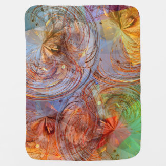 Pretty Abstract Floral Baby Blankets