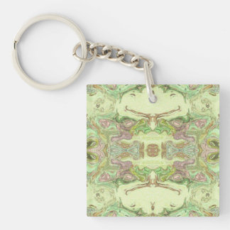 Pretty Abstract in Yellow, Lime, and Pink Keychain