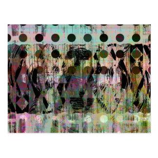 Pretty Abstract Iridescent Polka Dot Wood Grain Postcard