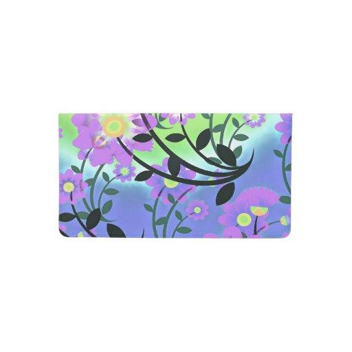 Pretty Checkbook Cover ~ Pretty abstract multicolored flowers purple checkbook