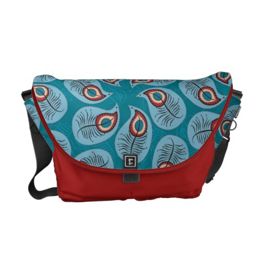 Pretty Abstract Peacock Feathers Messenger Bag