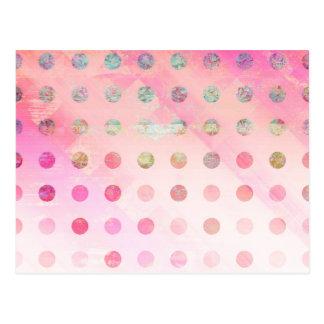 Pretty Abstract Pink and Grunge Polka Dots Postcard