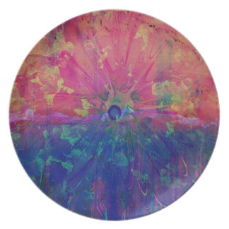 Pretty Abstract Watercolor Colorful Tie Dye Melamine Plate