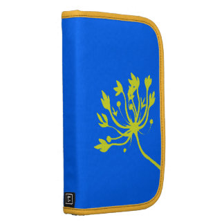 Pretty Abstract Yellow Flower Blue Folio Planner