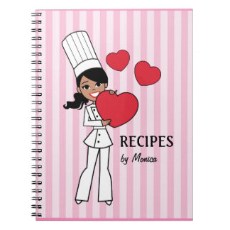 Pretty African American Baker Girl Notebook