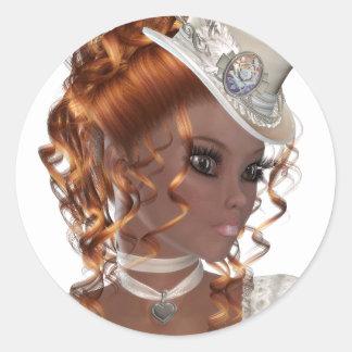 Pretty African American Woman Classic Round Sticker
