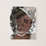 """Pretty African American Woman Jigsaw Puzzle<br><div class=""""desc"""">Pretty African American Woman Wearing a Beige Hat</div>"""