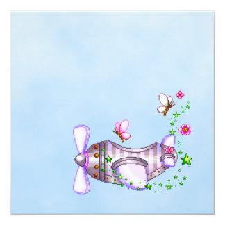 """Pretty Airplane Pixel Art 5.25"""" Square Invitation Card"""