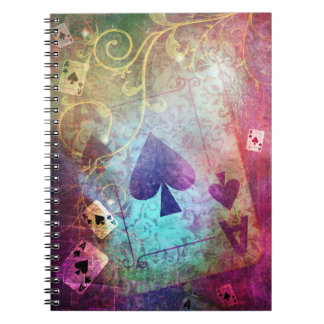 Pretty Alice in Wonderland Inspired Ace of Spades Spiral Notebook
