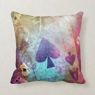Pretty Alice in Wonderland Inspired Ace of Spades Throw Pillow