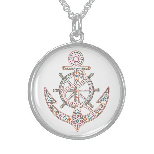 Pretty Anchor Round Pendant Necklace