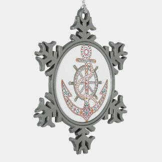 Pretty Anchor Snowflake Pewter Christmas Ornament