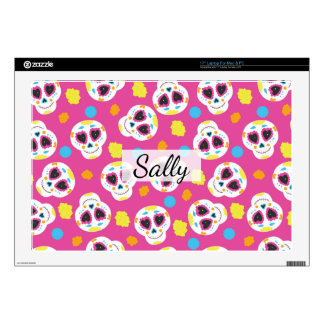 """Pretty and Cute Sugar Skulls on Pink 17"""" Laptop Decal"""