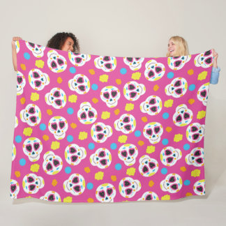 Pretty and Cute Sugar Skulls on Pink Fleece Blanket