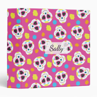 Pretty and Cute Sugar Skulls on Pink Personalized 3 Ring Binder