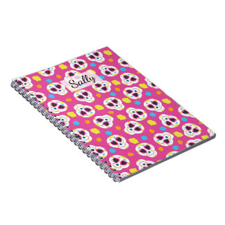 Pretty and Cute Sugar Skulls on Pink Personalized Notebook