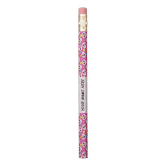 Pretty and Cute Sugar Skulls on Pink Personalized Pencil