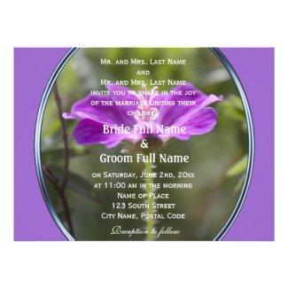 Pretty and elegant purple garden flower wedding invitations