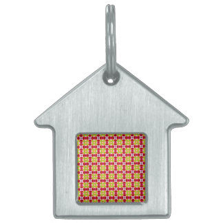 Pretty and Girly Pink Red Yellow Pattern Pet Tag