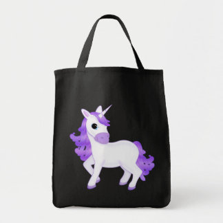 Pretty and Sparkly Purple Unicorn Cartoon Tote Bag