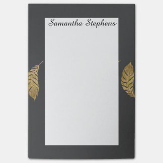 Pretty and Swanky Faux Gold Leaf Stripe on Black Post-it® Notes
