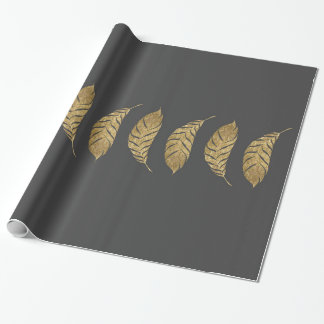 Pretty and Swanky Faux Gold Leaf Stripe on Black Wrapping Paper