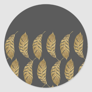 Pretty and Swanky Faux Gold Leaves on Black Classic Round Sticker
