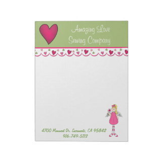 Pretty Angel and Heart Business Large Note Pad
