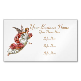 Pretty Angel With Pink Ribbon Magnetic Business Card
