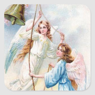 Pretty Angels With Bell Square Sticker