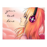Pretty anime girl listening to music post card