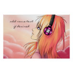 Pretty anime girl listening to music poster