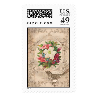 Pretty Antique Flowers & Bird Postage Stamps