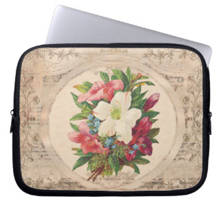 Pretty Antique Flowers Laptop Sleeves